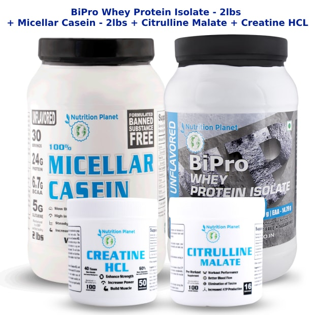 (COMBO 3)-BiPro Whey Protein Isolate + Micellar Casein + Citrulline Malate + Creatine HCL