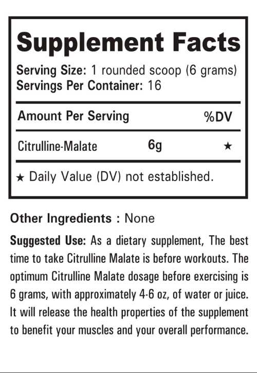 Nutrition Facts of Nutrition Planet's Citrulline Malate