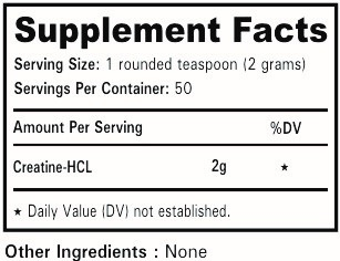 Nutrition Facts of Nutrition Planet's Creatine HCL