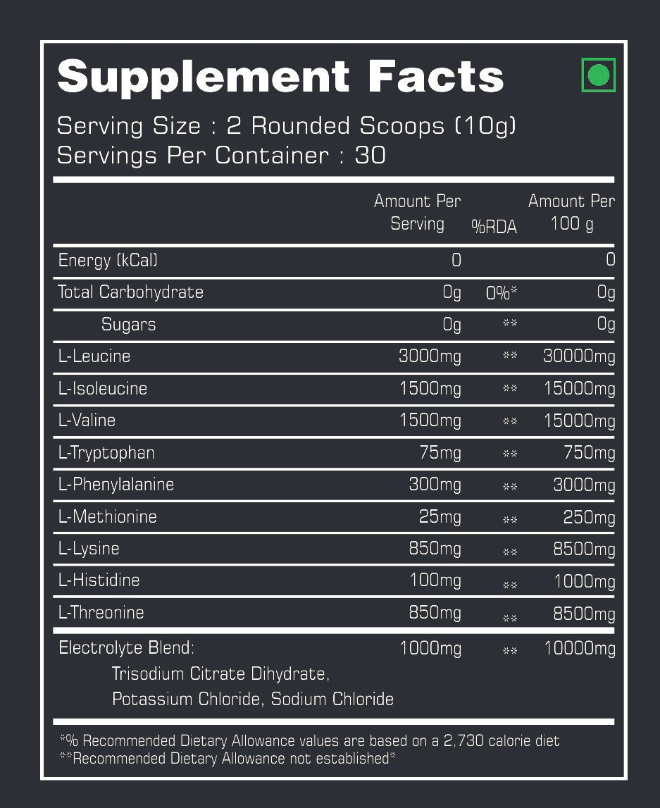 Xtreme EAAs Nutrition Facts