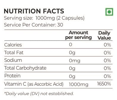 Nutrition Planet Immunity Booster Vitamin C Nutrition Facts