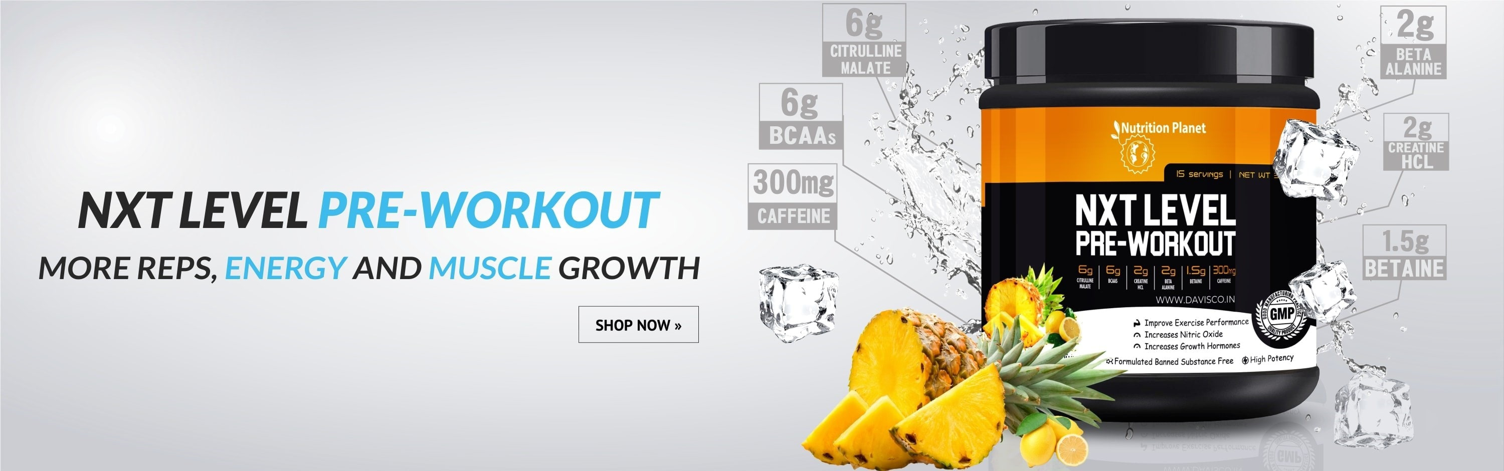 nxt level pre-workout pineapple with lemon twist