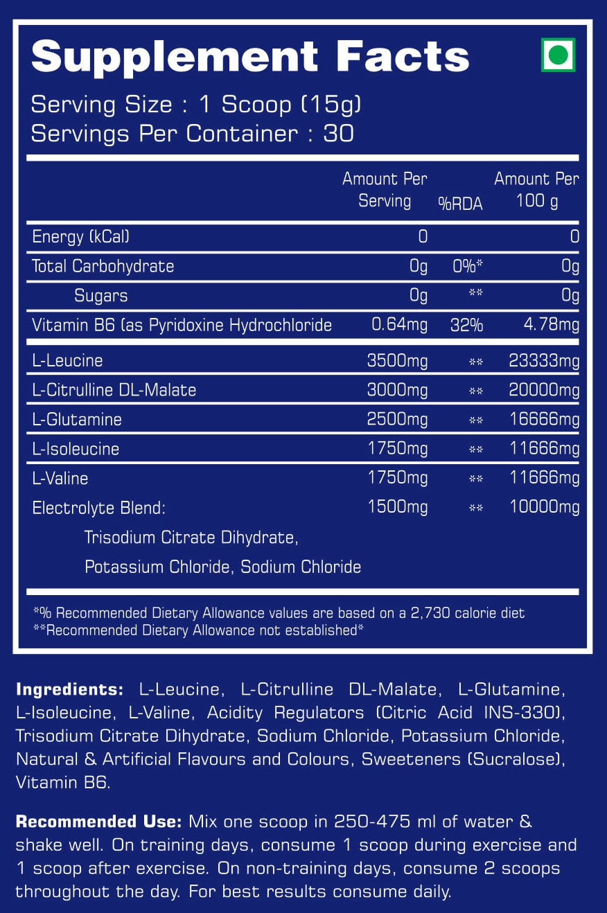 Xtreme BCAAs Nutrition Facts